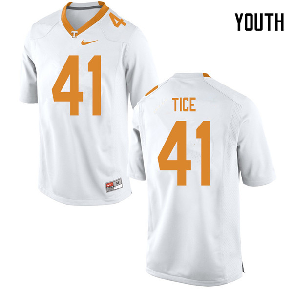 Youth #41 Ryan Tice Tennessee Volunteers College Football Jerseys Sale-White