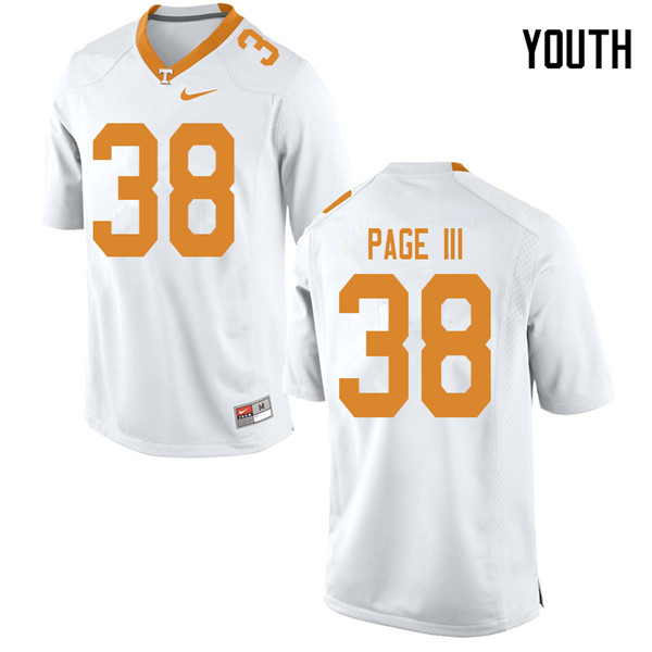Youth #38 Solon Page III Tennessee Volunteers College Football Jerseys Sale-White