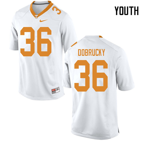 Youth #36 Tanner Dobrucky Tennessee Volunteers College Football Jerseys Sale-White
