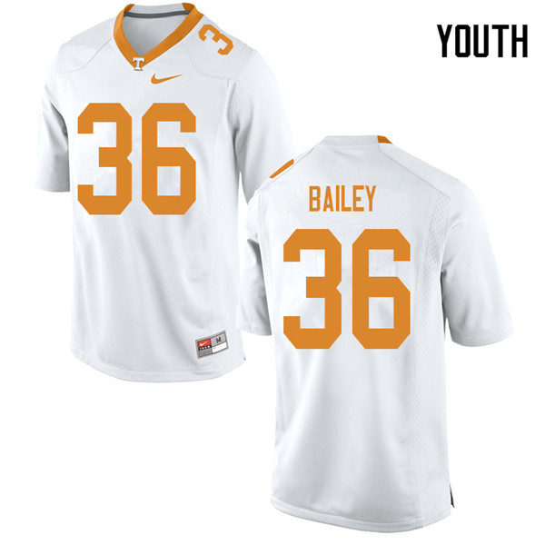Youth #36 Terrell Bailey Tennessee Volunteers College Football Jerseys Sale-White