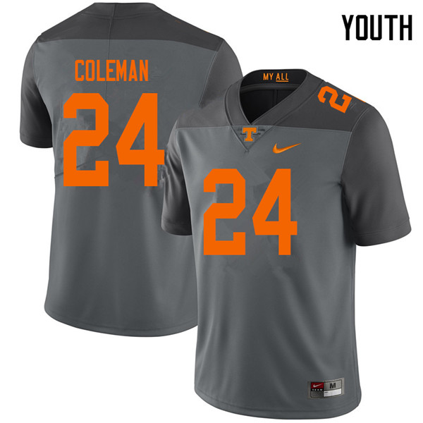 Youth #24 Trey Coleman Tennessee Volunteers College Football Jerseys Sale-Gray