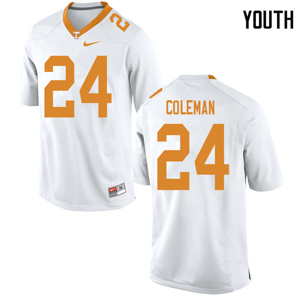 Youth #24 Trey Coleman Tennessee Volunteers College Football Jerseys Sale-White