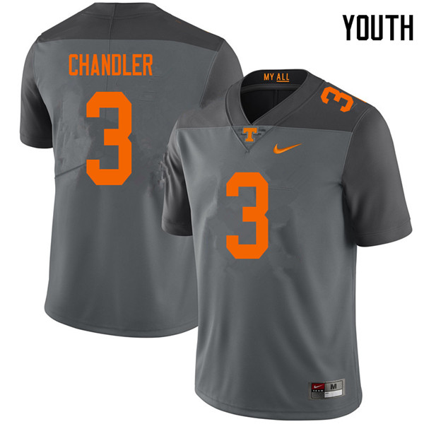Youth #3 Ty Chandler Tennessee Volunteers College Football Jerseys Sale-Gray