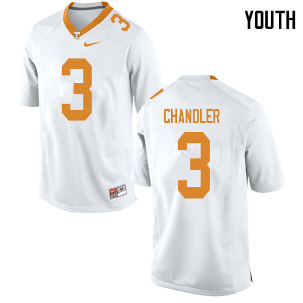 Youth #3 Ty Chandler Tennessee Volunteers College Football Jerseys Sale-White