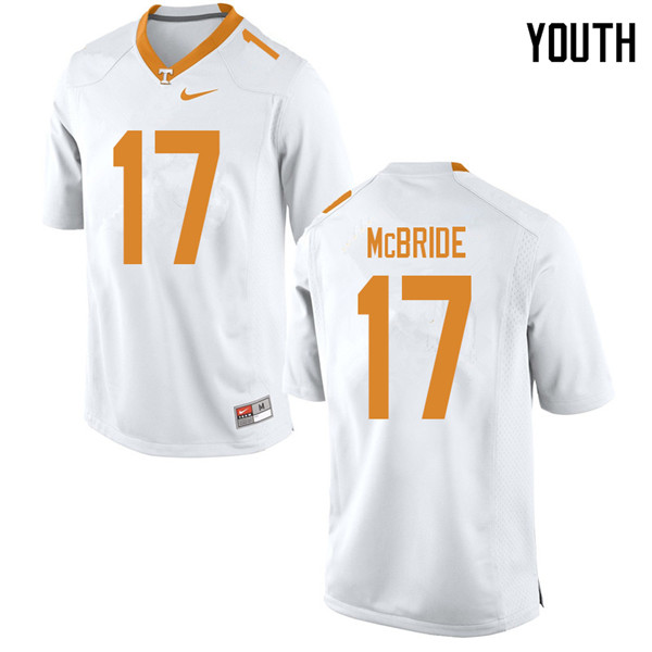 Youth #17 Will McBride Tennessee Volunteers College Football Jerseys Sale-White