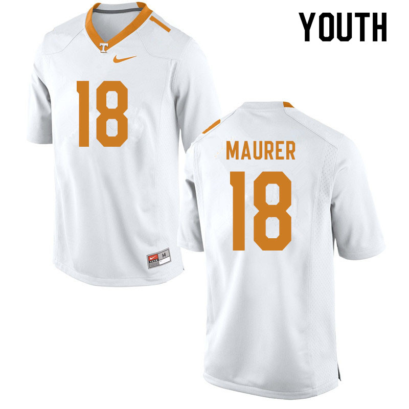 Youth #18 Brian Maurer Tennessee Volunteers College Football Jerseys Sale-White