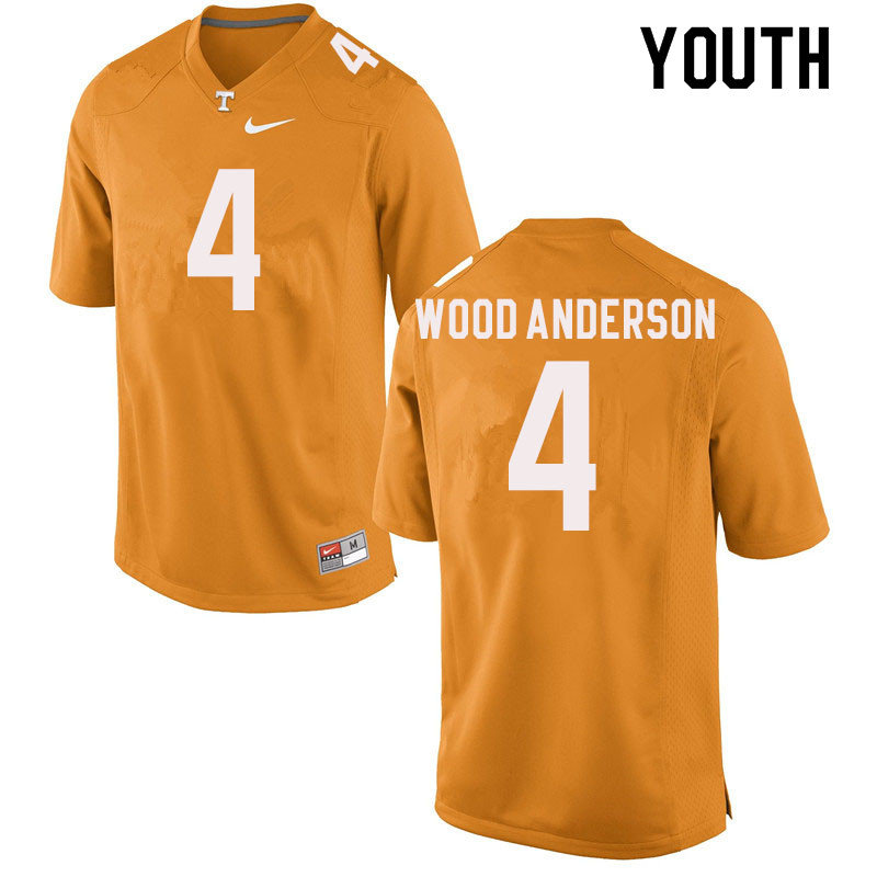 Youth #4 Dominick Wood-Anderson Tennessee Volunteers College Football Jerseys Sale-Orange