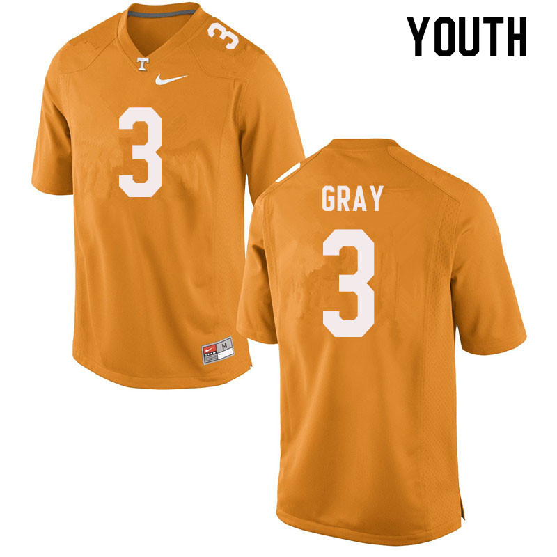 Youth #3 Eric Gray Tennessee Volunteers College Football Jerseys Sale-Orange