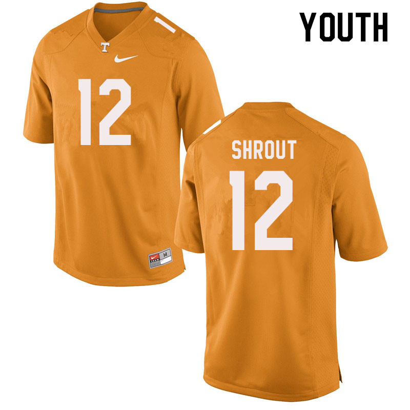 Youth #12 J.T. Shrout Tennessee Volunteers College Football Jerseys Sale-Orange