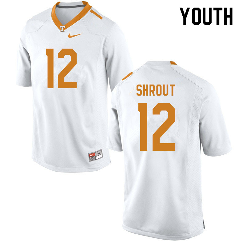 Youth #12 J.T. Shrout Tennessee Volunteers College Football Jerseys Sale-White