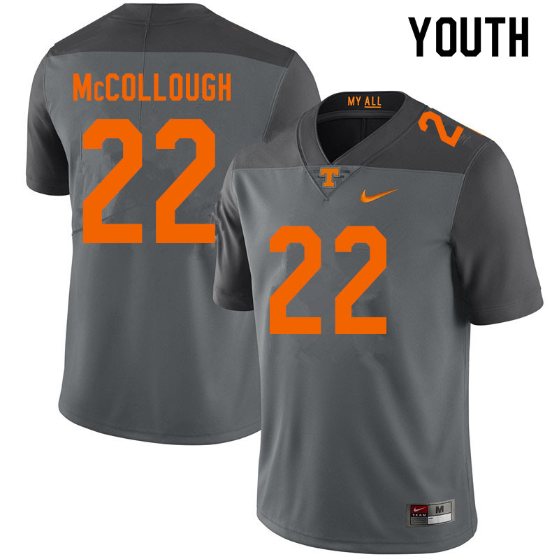 Youth #22 Jaylen McCollough Tennessee Volunteers College Football Jerseys Sale-Gray