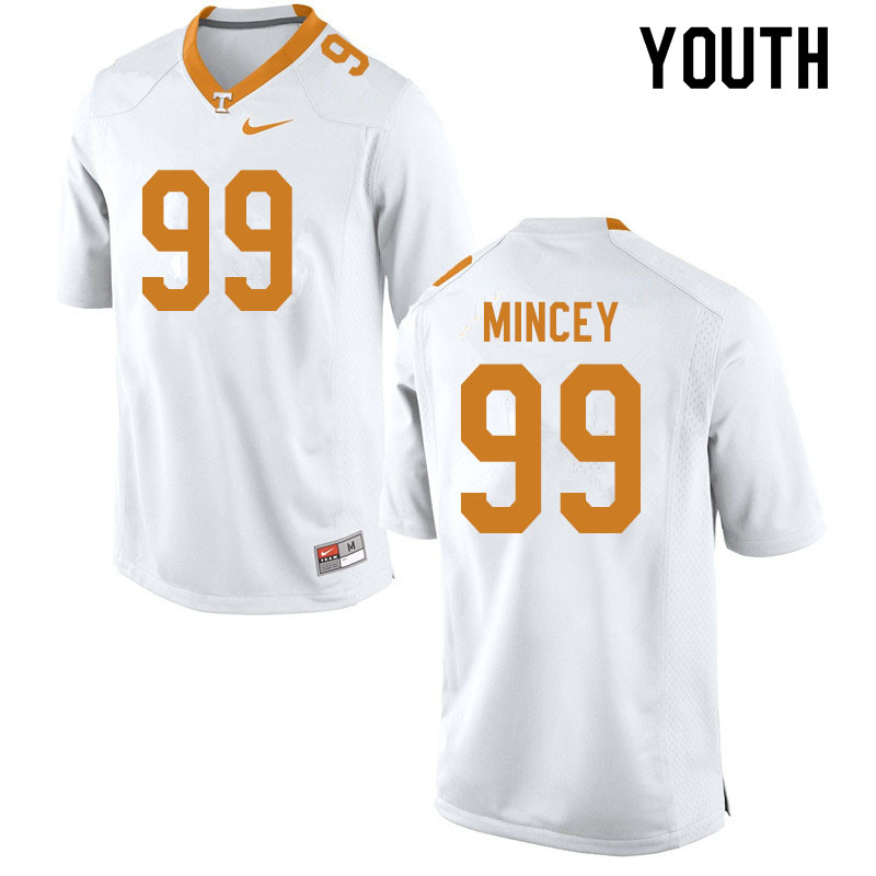 Youth #99 John Mincey Tennessee Volunteers College Football Jerseys Sale-White