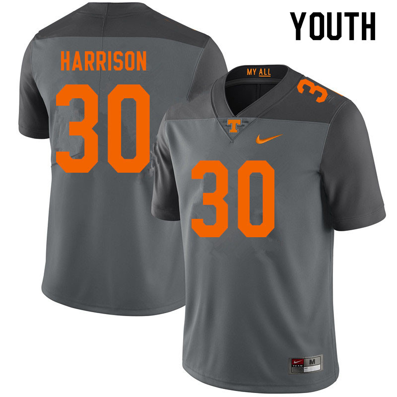 Youth #30 Roman Harrison Tennessee Volunteers College Football Jerseys Sale-Gray