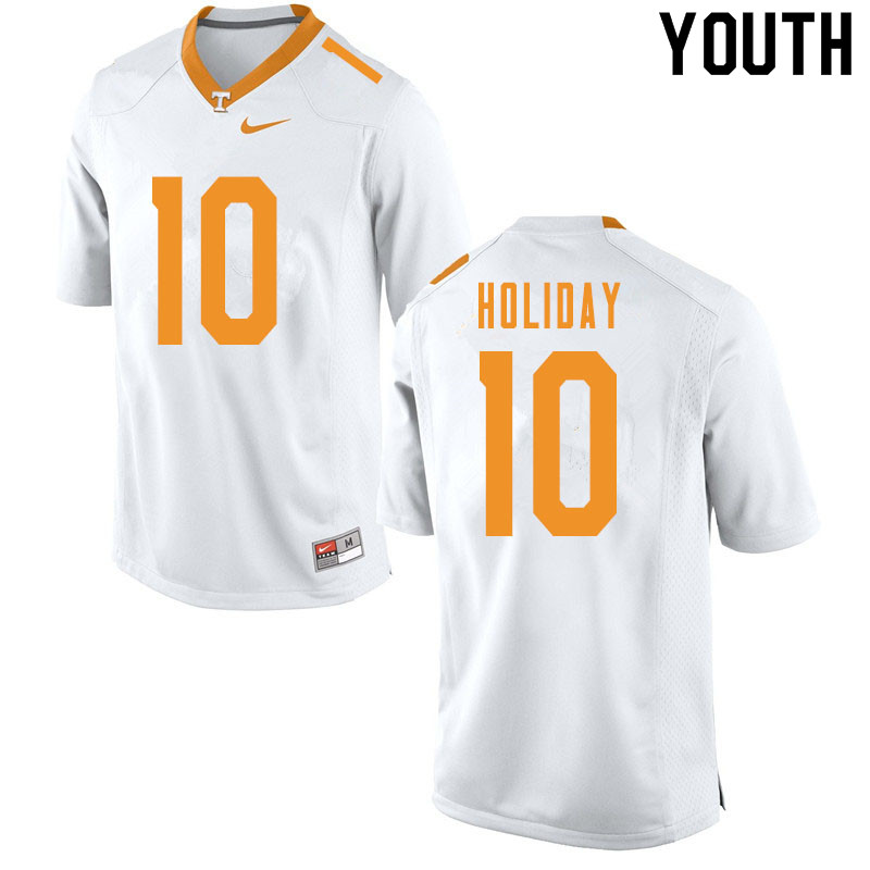 Youth #10 Jimmy Holiday Tennessee Volunteers College Football Jerseys Sale-White