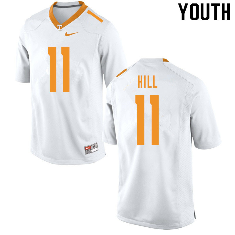 Youth #11 Kasim Hill Tennessee Volunteers College Football Jerseys Sale-White