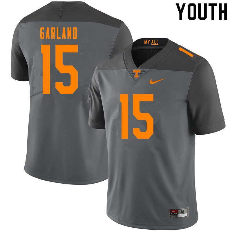 Youth #15 Kwauze Garland Tennessee Volunteers College Football Jerseys Sale-Gray