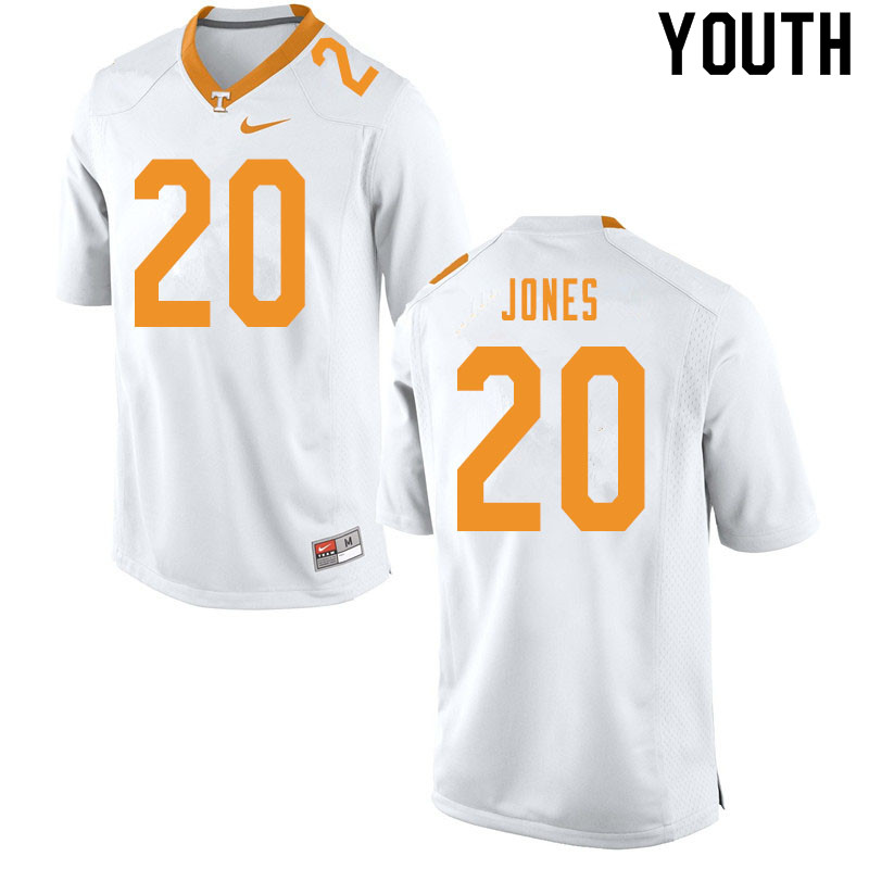 Youth #20 Miles Jones Tennessee Volunteers College Football Jerseys Sale-White