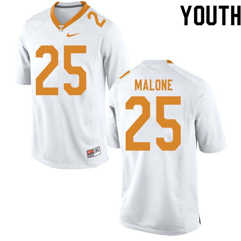 Youth #25 Antonio Malone Tennessee Volunteers College Football Jerseys Sale-White