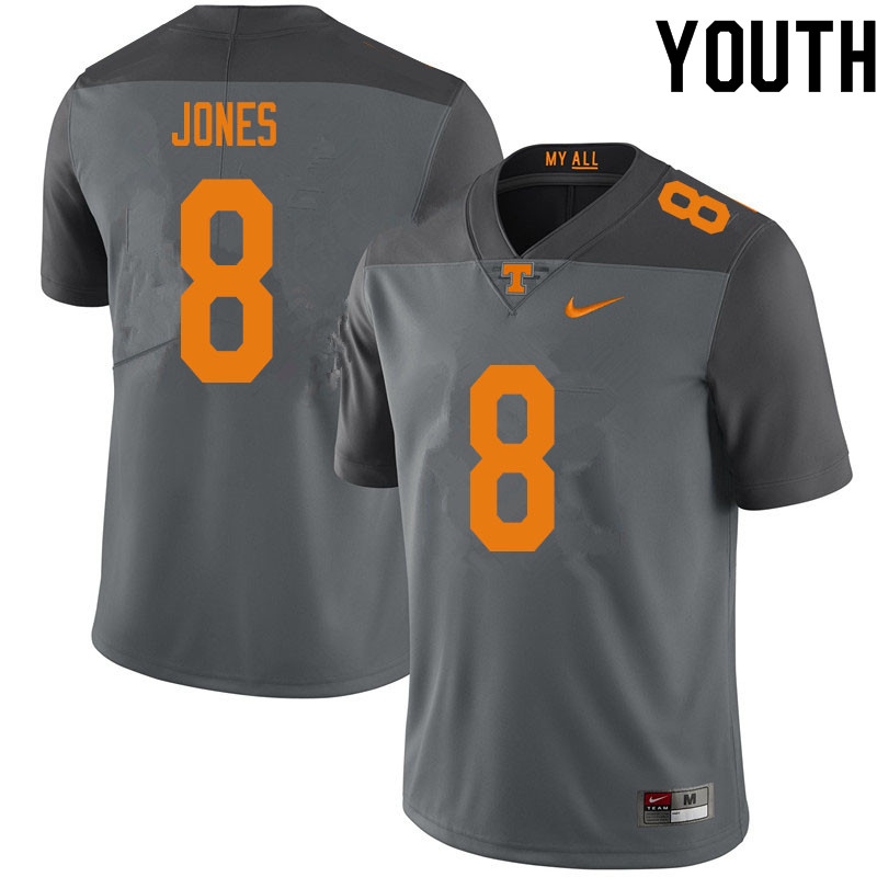 Youth #8 Bradley Jones Tennessee Volunteers College Football Jerseys Sale-Gray