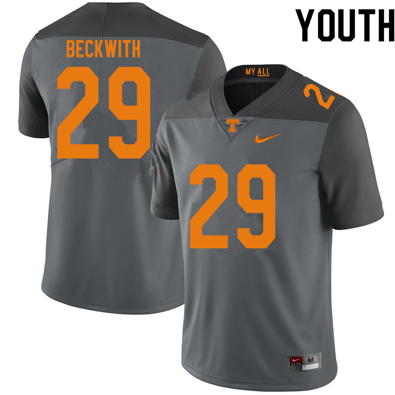 Youth #29 Camryn Beckwith Tennessee Volunteers College Football Jerseys Sale-Gray