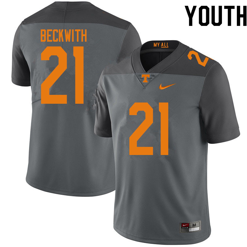Youth #21 Dee Beckwith Tennessee Volunteers College Football Jerseys Sale-Gray