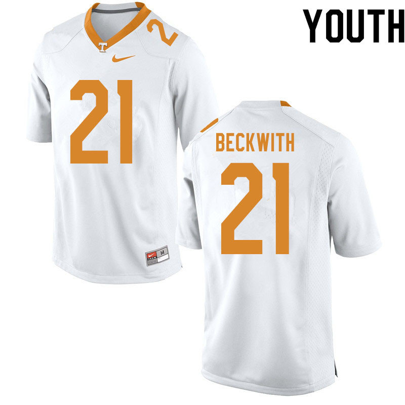 Youth #21 Dee Beckwith Tennessee Volunteers College Football Jerseys Sale-White