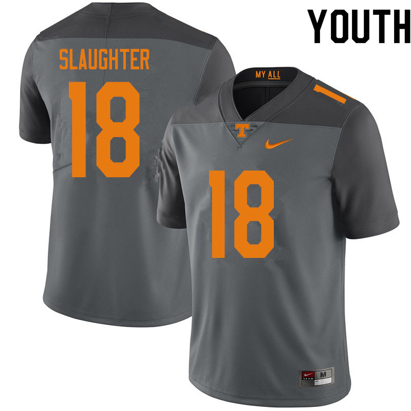 Youth #18 Doneiko Slaughter Tennessee Volunteers College Football Jerseys Sale-Gray