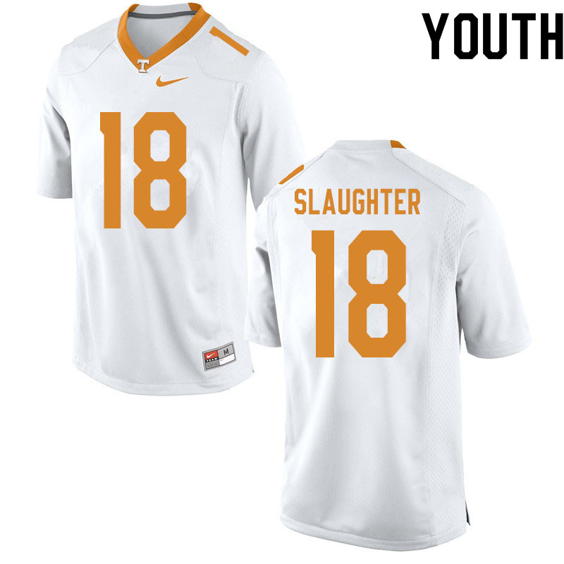 Youth #18 Doneiko Slaughter Tennessee Volunteers College Football Jerseys Sale-White