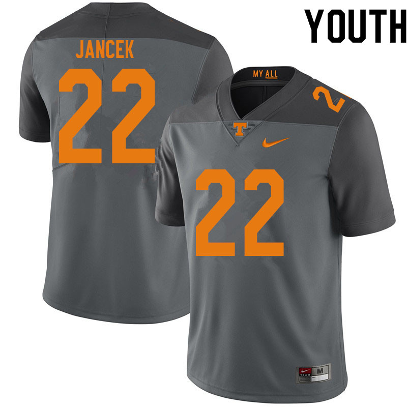 Youth #22 Jack Jancek Tennessee Volunteers College Football Jerseys Sale-Gray