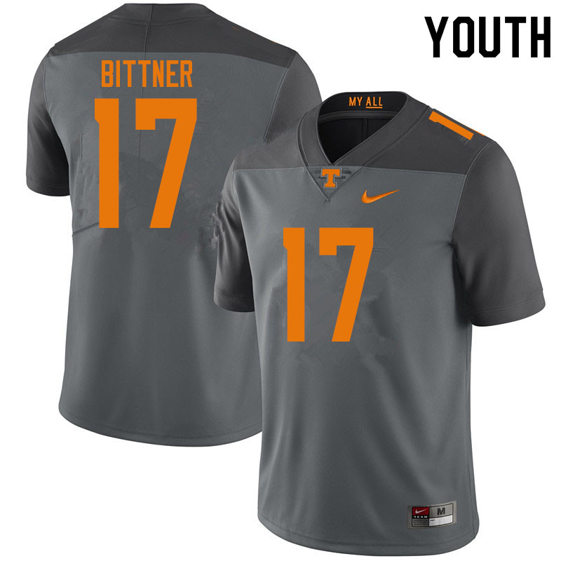 Youth #17 Michael Bittner Tennessee Volunteers College Football Jerseys Sale-Gray