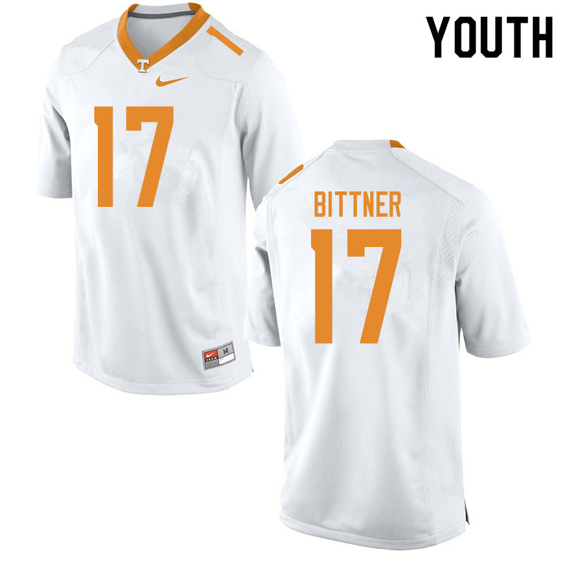 Youth #17 Michael Bittner Tennessee Volunteers College Football Jerseys Sale-White