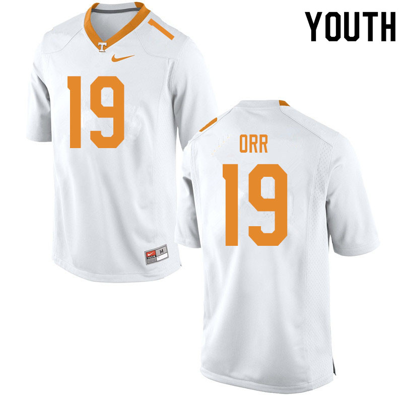 Youth #19 Steven Orr Tennessee Volunteers College Football Jerseys Sale-White
