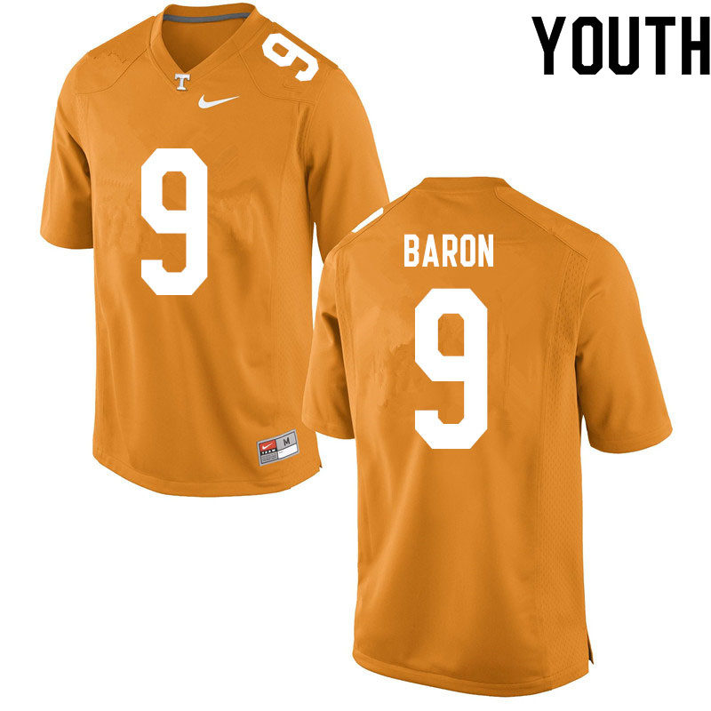 Youth #9 Tyler Baron Tennessee Volunteers College Football Jerseys Sale-Orange
