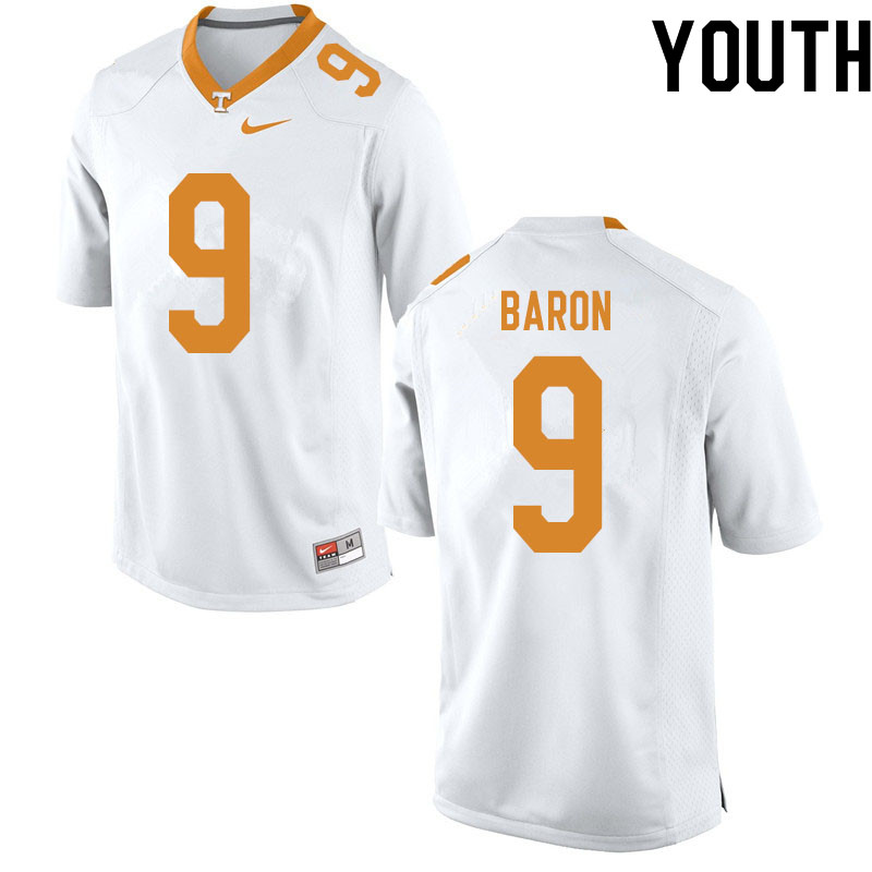 Youth #9 Tyler Baron Tennessee Volunteers College Football Jerseys Sale-White