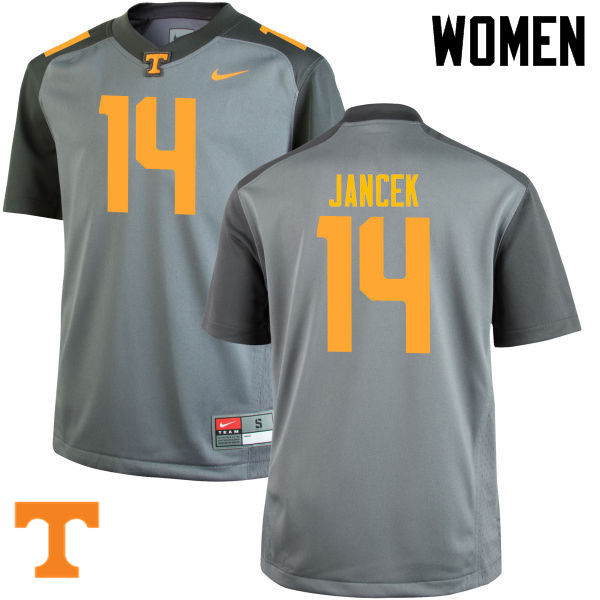 Women #14 Zac Jancek Tennessee Volunteers College Football Jerseys-Gray