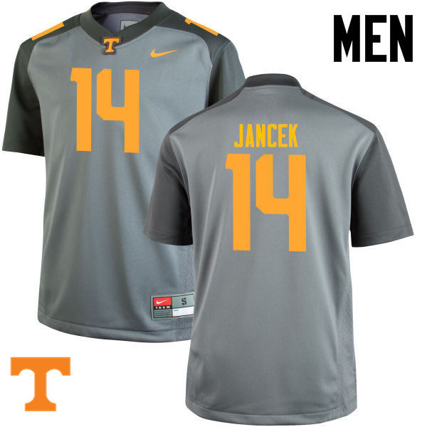 Men #14 Zac Jancek Tennessee Volunteers College Football Jerseys-Gray