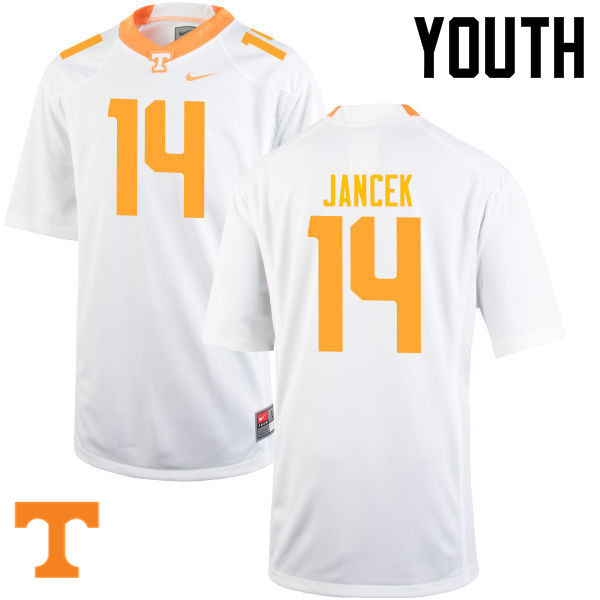 Youth #14 Zac Jancek Tennessee Volunteers College Football Jerseys-White